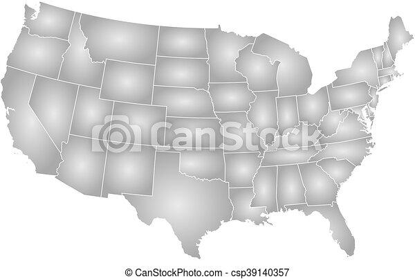 Landkarte, vereint, gleichstrom, washington, -, staaten.... Clipart ...