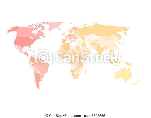 Landkarte, verschieden, leer, politisch, farben,... Clipart Vektor ...