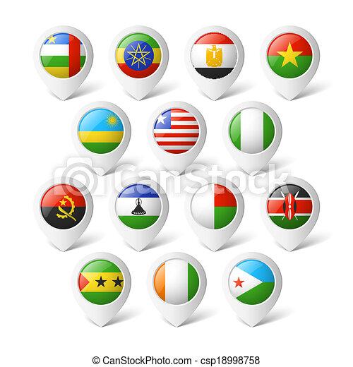 landkarte, zeiger, flags., afrika. - csp18998758