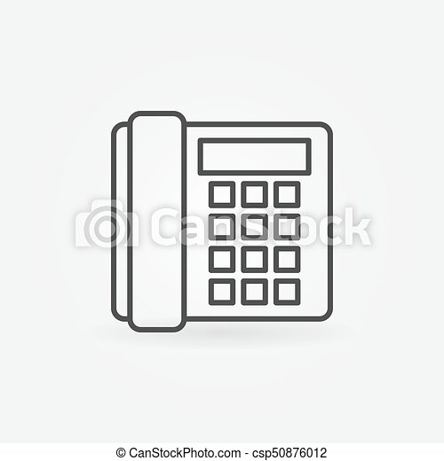 Landline phone icon - vector old telephone concept sign in thin