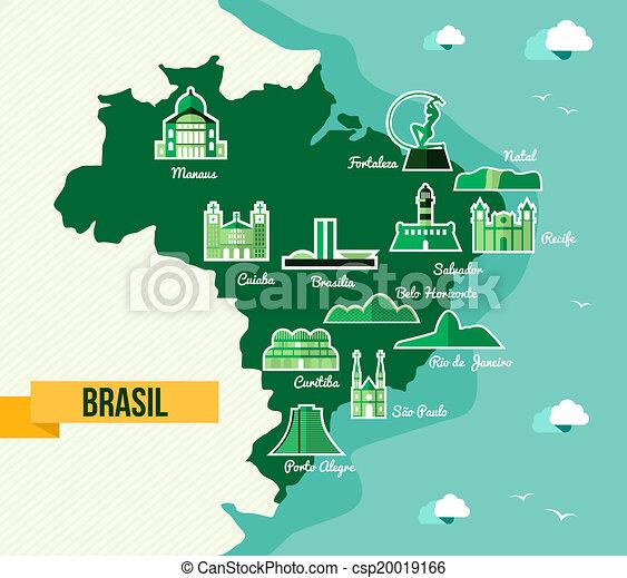 Clip Art Vector Of Landmark Brazil Map Silhouette Icon Soccer - Brazil map illustration