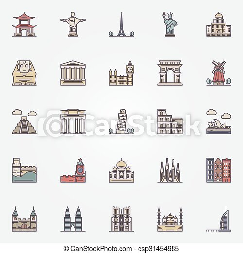 Landmark icons set - csp31454985