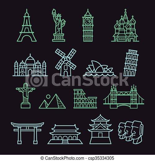 landmark icons - csp35334305