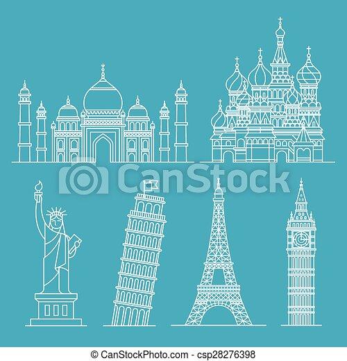 Landmark icons. Vector illustration - csp28276398