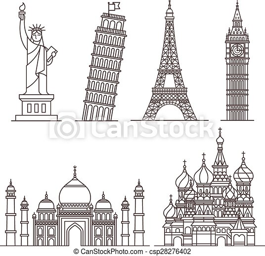 Landmark icons. Vector illustration - csp28276402