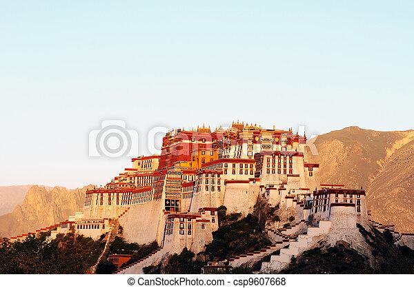 Landmark of the famous Potala Palace in Lhasa Tibet - csp9607668