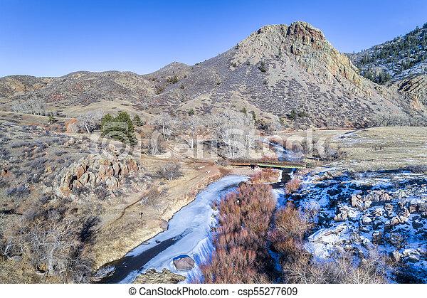 landmark rock and river in northern Colorado - csp55277609