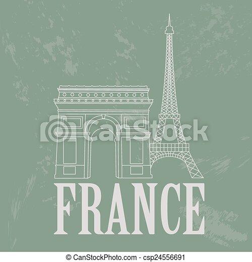 Puntos de referencia de Francia. Retro estilizado - csp24556691