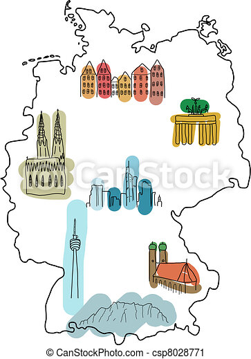 Vector Clip Art Of Landmarks In Germany Germany Doodle Map - Germany map eps