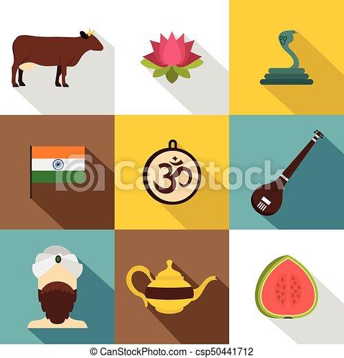 Landmarks of India icon set, flat style - csp50441712