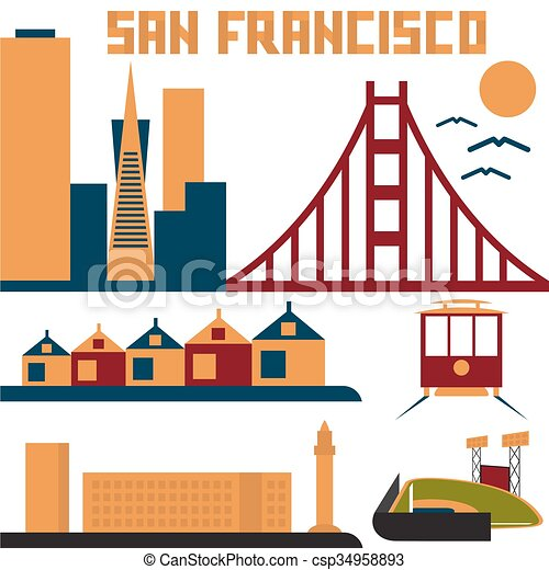 landmarks of San Francisco flat design - csp34958893