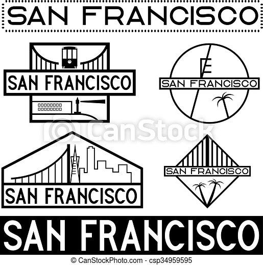 landmarks of San Francisco vintage labels set - csp34959595