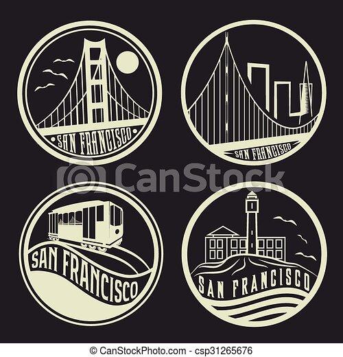 landmarks of San Francisco vintage labels set - csp31265676