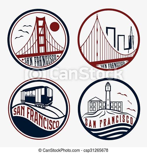 landmarks of San Francisco vintage labels set - csp31265678