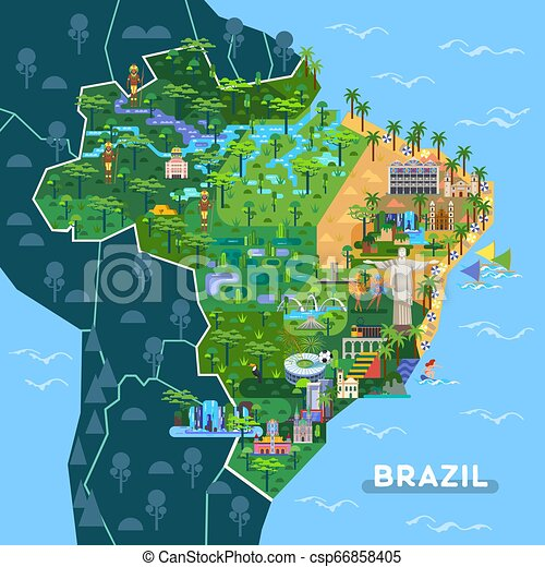 Landmarks, sightseeing places on South America map