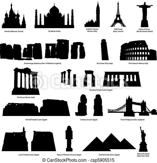 landmarks silhouette set - csp5905515