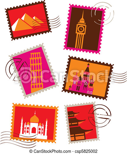 landmarks stamps collection vector illustration search clipart rh canstockphoto com stamp clipart no background stamp clipart no background