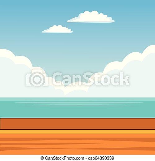 Landscape Background Cartoon Landscape Beach Background Cartoon Vector Illustration Graphic Design