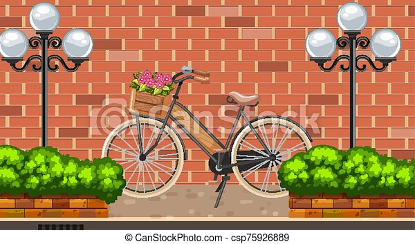 Landscape background with bike on the road - csp75926889