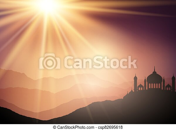 landscape background with mosques against sunset sky 2306 - csp82695618
