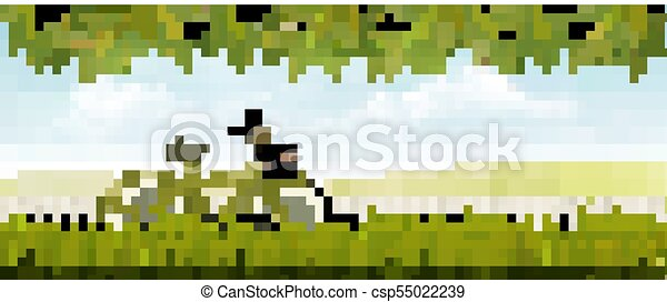 landscape, bicycle., weide, vector., natuur - csp55022239