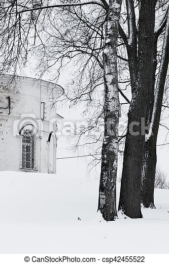 Landscape. Church and trees. Winter in Russia - csp42455522
