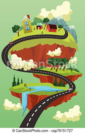 Landscape City Road Concept Illustration - csp76151727