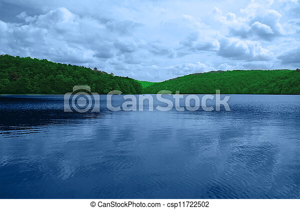landscape consisting of mountains and lake. The Plitvice Lakes, national park in Croatia - csp11722502