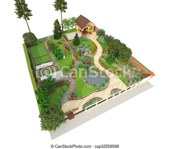 Landscape Design 3d Landscape Design In 3d Isolated On A