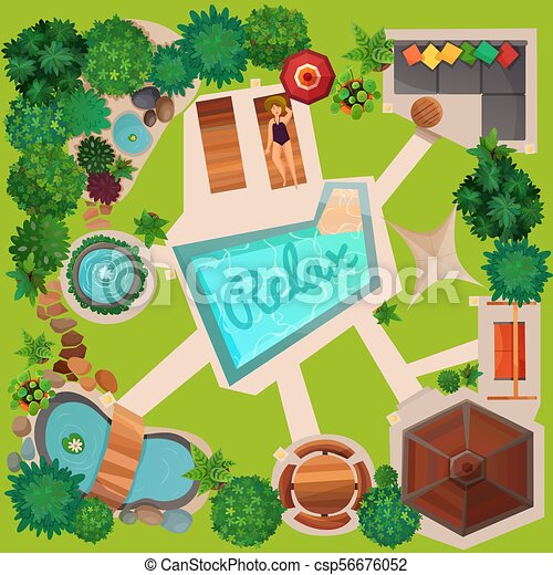 Landscape Design Top View Illustration