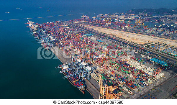 Landscape from bird eye view for Laem chabang logistic port - csp44897590