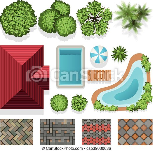 Landscape Garden Design Vector Elements Top View