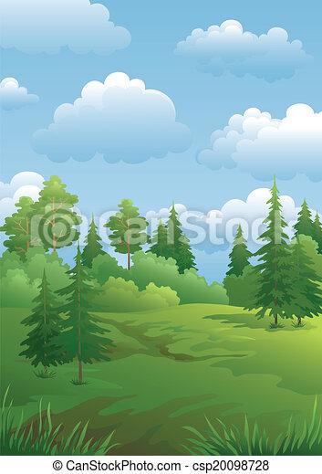 Landscape, green summer forest - csp20098728