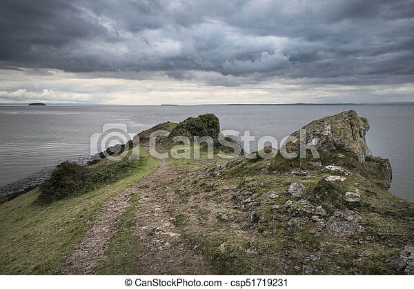Landscape image of view out ot sea with stormy sky - csp51719231