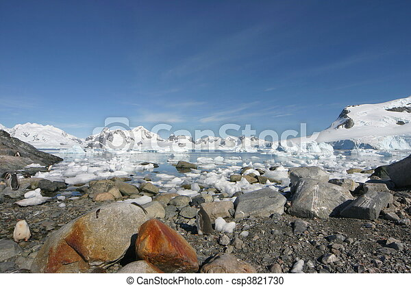 Landscape in Antarctica on a nearly cloudless day - csp3821730