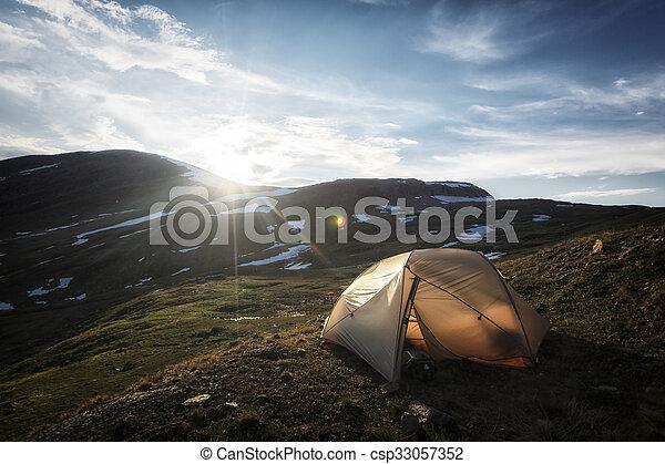 Landscape in Lapland, Sweden - csp33057352