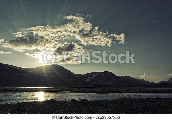 Landscape in Lapland, Sweden - csp33057356