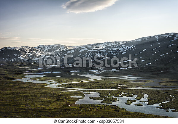 Landscape in Lapland, Sweden - csp33057534