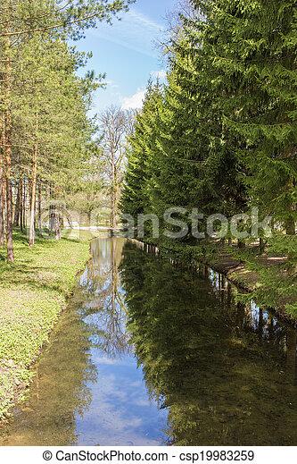 landscape in spring park - csp19983259