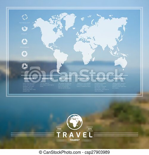 Landscape infographic vector infographic travel on blurred landscape infographic csp27903989 gumiabroncs Images
