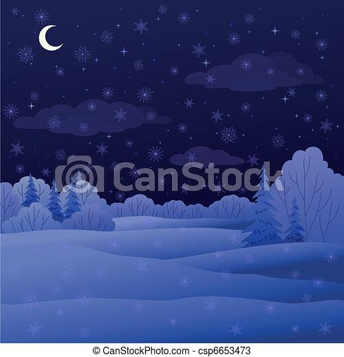 Landscape, night winter forest - csp6653473