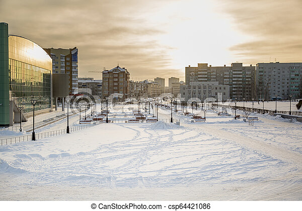 Landscape of a small town in winter - csp64421086