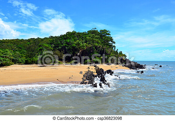Landscape of a wild beach on the Pacific Ocean in Queensland  Australia - csp36823098