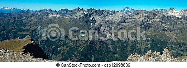 landscape of an alpine lake at dawn - csp12098839