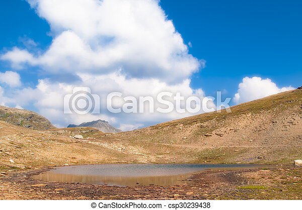 landscape of an alpine lake with cloudy sky - csp30239438