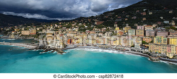 Landscape of Camogli in a cloudy day - csp82872418
