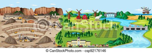 Landscape of coal mine and farm land - csp92176146