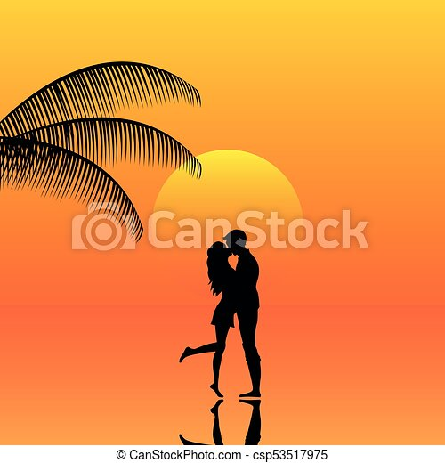 landscape of couple in a sunset on the beach landscape background