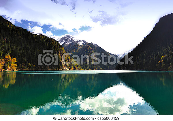 Landscape of forest and lake in China Jiuzhaigou - csp5000459