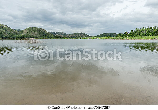 Landscape of lake with mountain - csp70547367